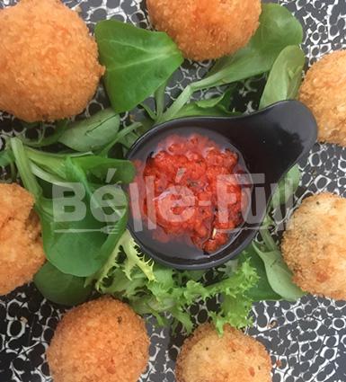 Jollof Arancini balls stuffed with Beef & Plantain