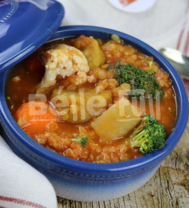 Stewed Lentils with Yam, Plantain, Broccoli & Cauliflower