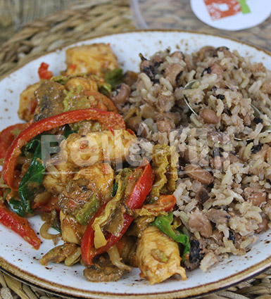 Chicken Suya Stir Fry with Rice & Beans