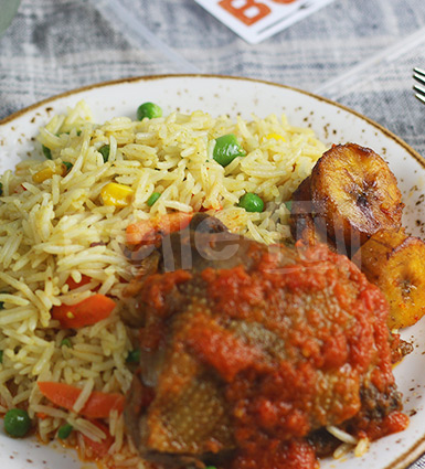 Veg Fried Rice, Stewed Pulvera Chicken, Fried Plantain