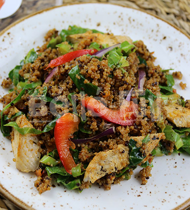 Warm Jollof Quinoa Salad with Chicken