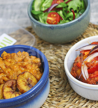 Stewed Beans served with Fried Plantain & Stewed Fish