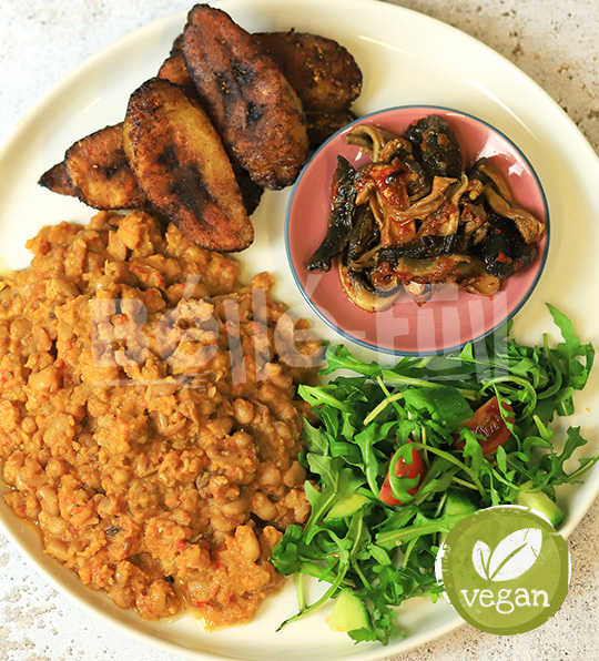 Stewed beans, ata dindin mushrooms, fried plantain